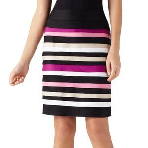 WHBM Black Cotton Satin Tiered Pencil Skirt
